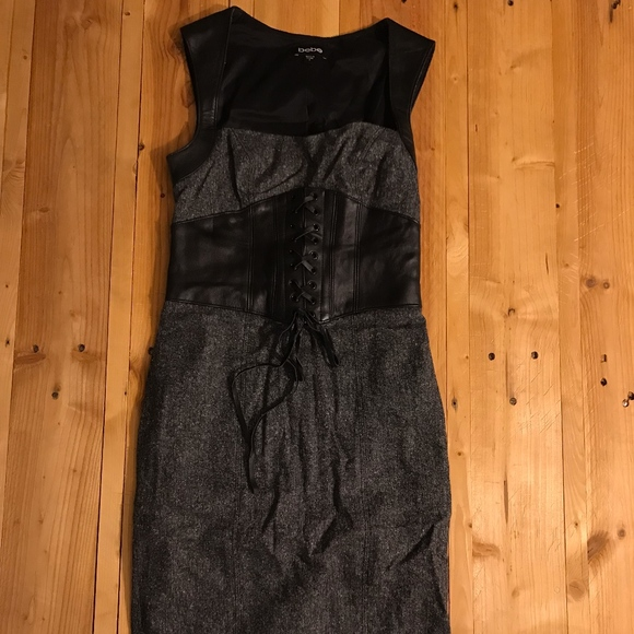 bebe Dresses & Skirts - Bebe Wool Leather Trim Dress with Corset Waist 2